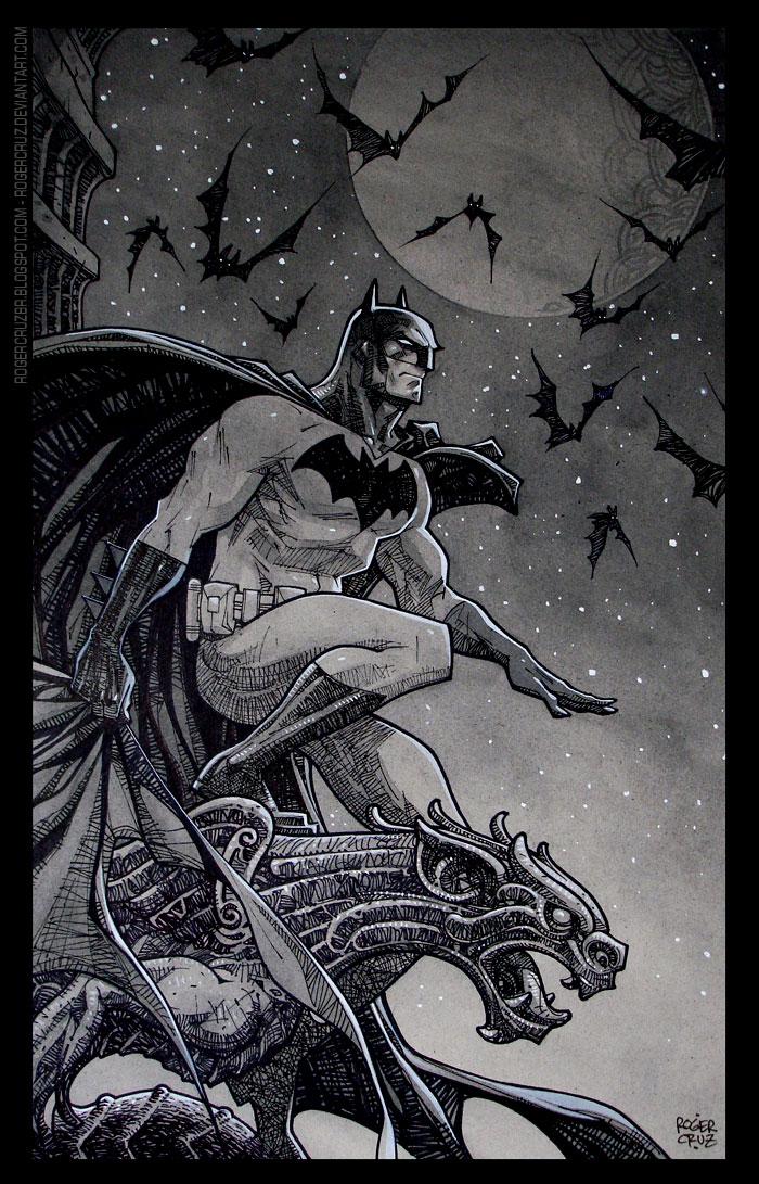 batman/commission/inks/watercolor by rogercruz