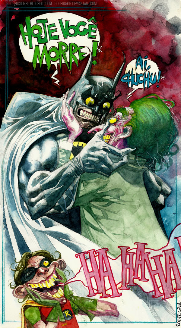 Batman/joker watercolor by rogercruz