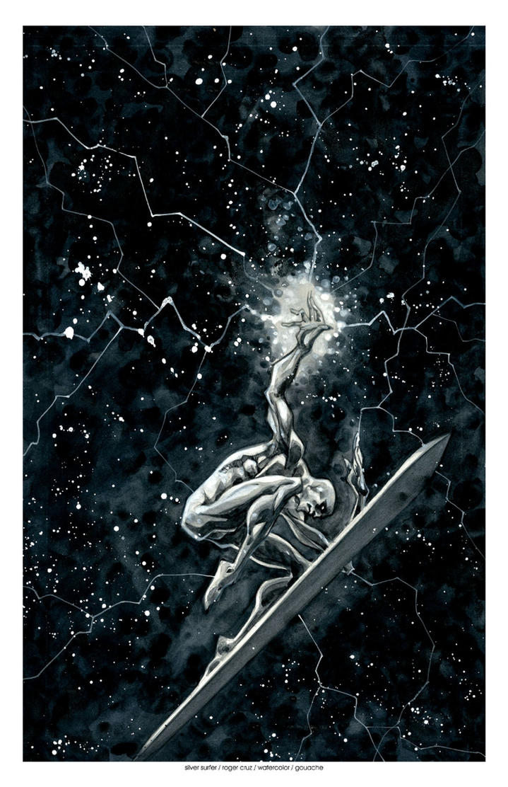 Silver surfer watercolor by rogercruz