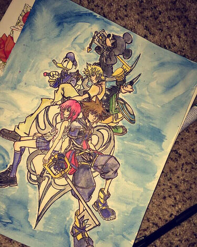 Kingdom Hearts Watercolor by yinyangbabe256