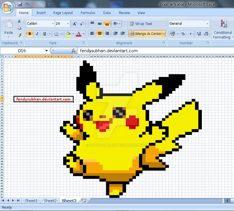 pikachu pixel art ms excel by fendysubhan on deviantart