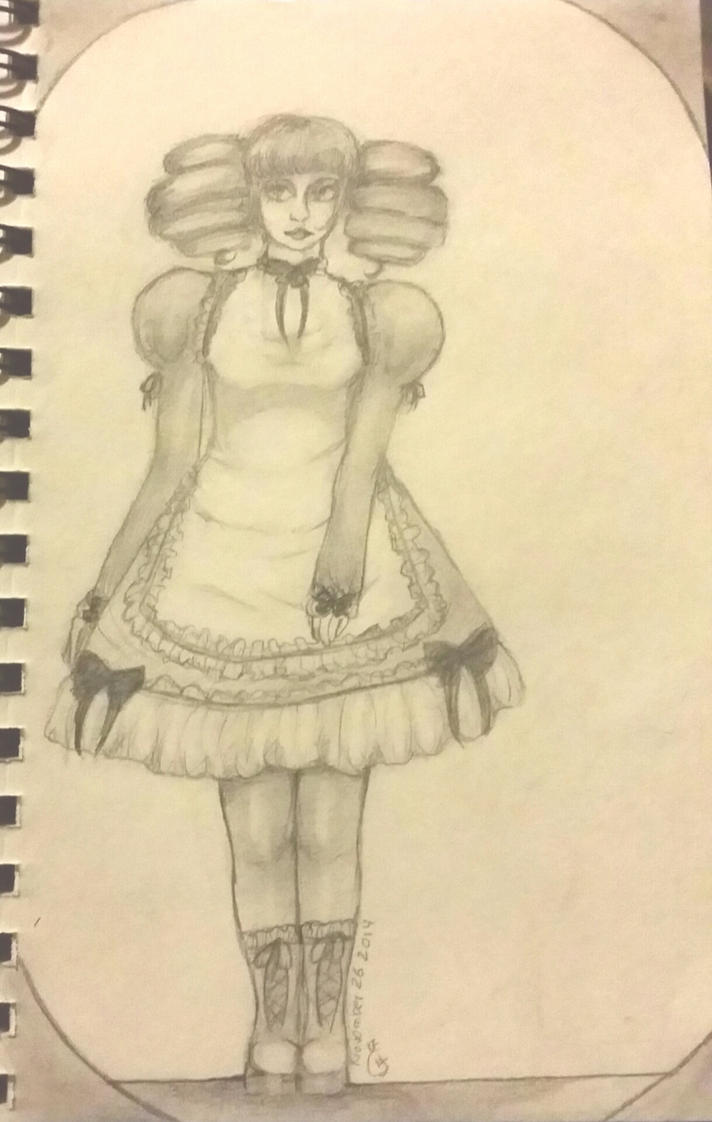 Frilly dress goth study by Backflipexpert