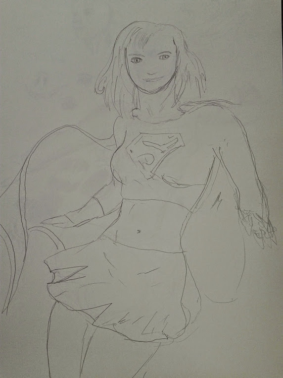 quick Supergirl Sketch by Ghostdogcs