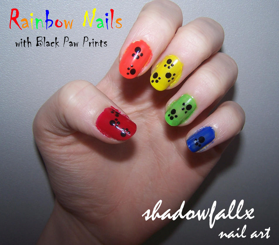 Rainbow Paw Print Nails by shadowfallx on DeviantArt