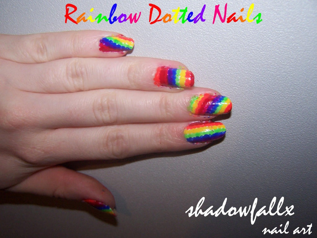 Rainbow Dotted Nails by shadowfallx