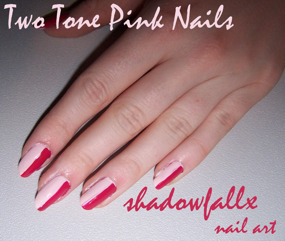 Two Tone Pink Nails By Shadowfallx On DeviantArt