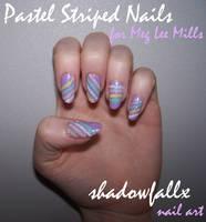 Pastel Striped Nails by shadowfallx