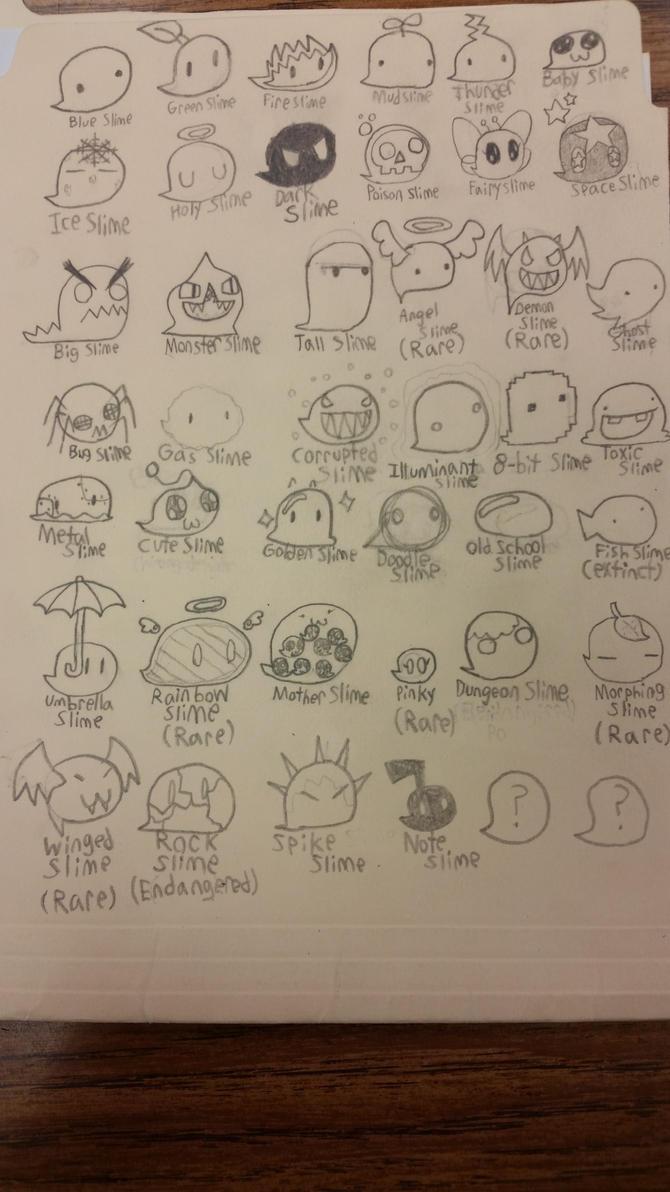 Slime list  (WIP?) by Jason5432