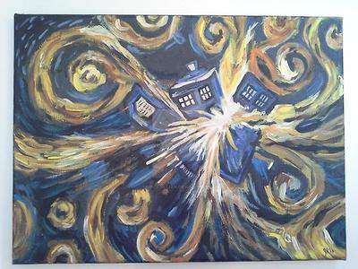 Exploding TARDIS Van Gogh Painting by PrinceJillian