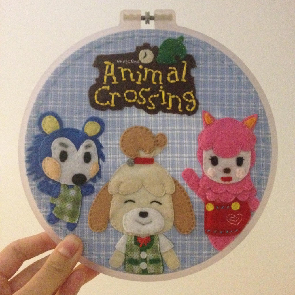 Animal crossing embroidery hoop by cloudy days on deviantart