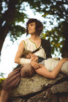 Zelda Twilight Princess -Ilia resting in Links lap by UltraCosplay
