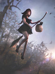 Witch flying on broomstick