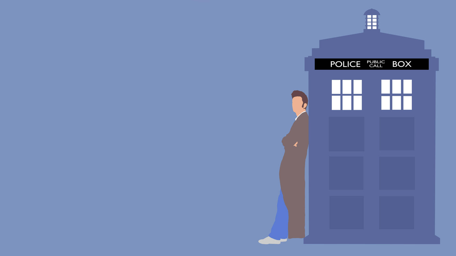 The 10th Doctor and his TARDIS (Wallpaper) by GameAddikt on DeviantArt