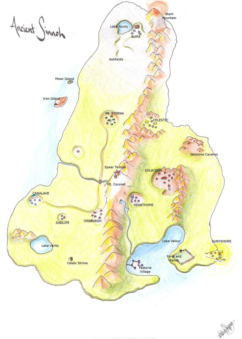 """Origins of Sinnoh"" Artwork Map__Ancient_Sinnoh_by_Rialys"