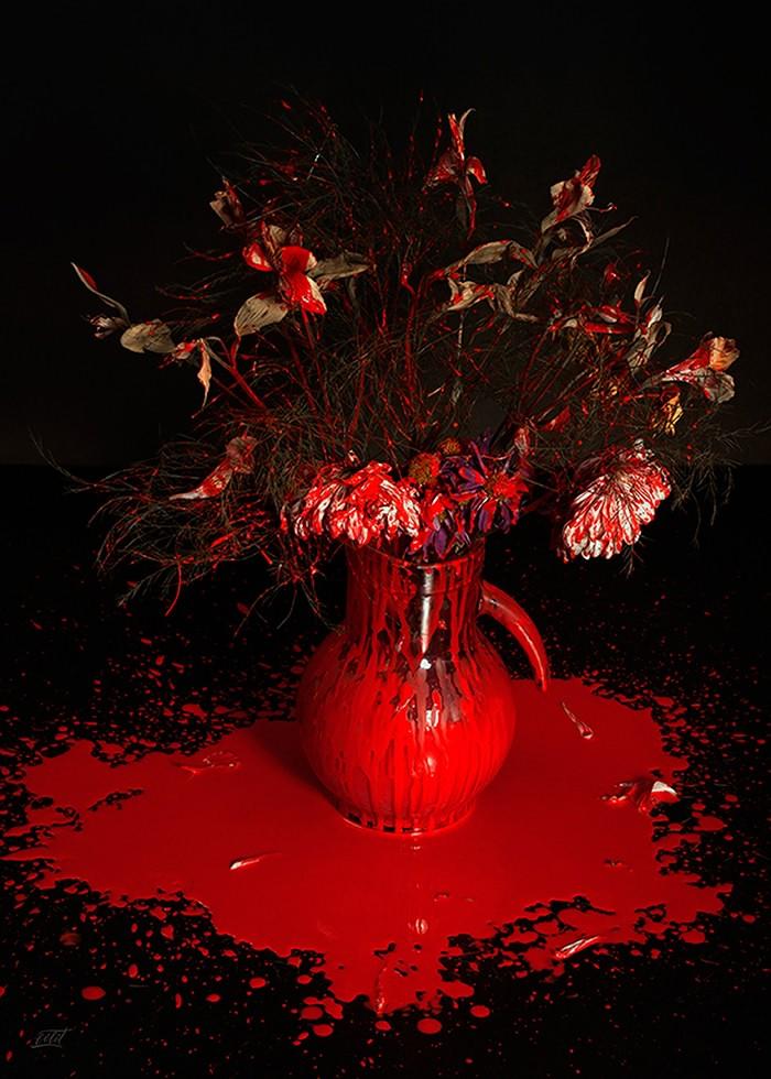 تابلو عکس، گل ها و رنگ پاشیده شماره 4