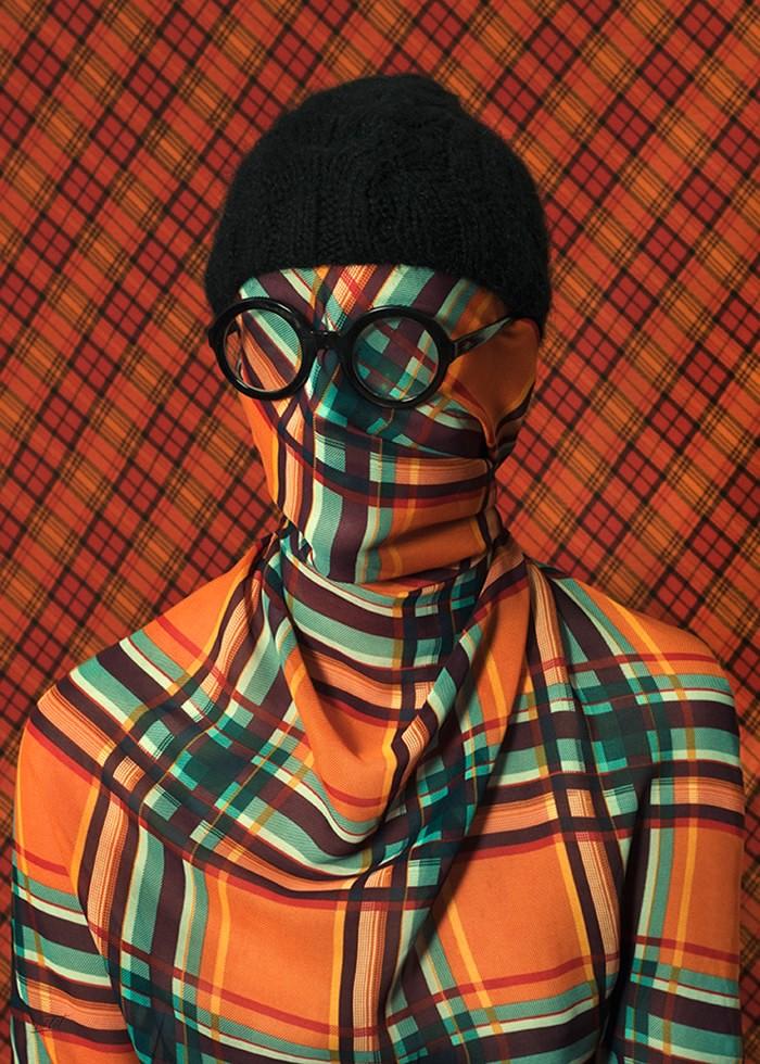 تابلو عکس، چهار خونه نارنجی با چهره مخفی