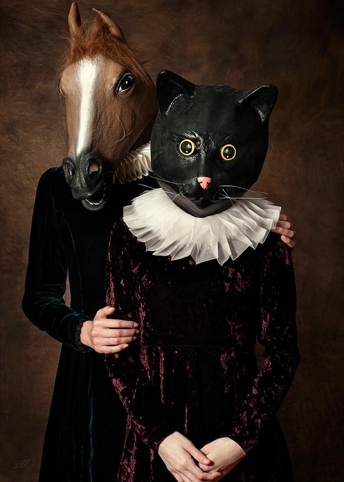 تابلو عکس، پرتره دونفره خانم اسب و خانم گربه