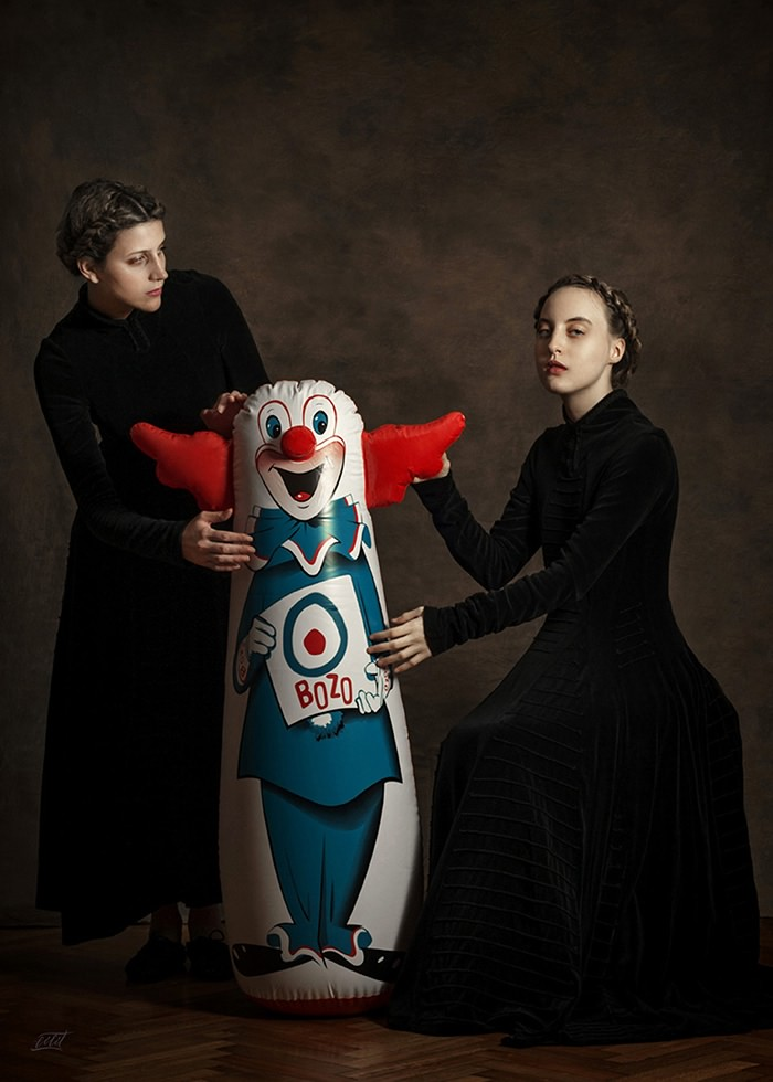 تابلو عکس، پرتره رنسانسی دونفره با عروسک بادی