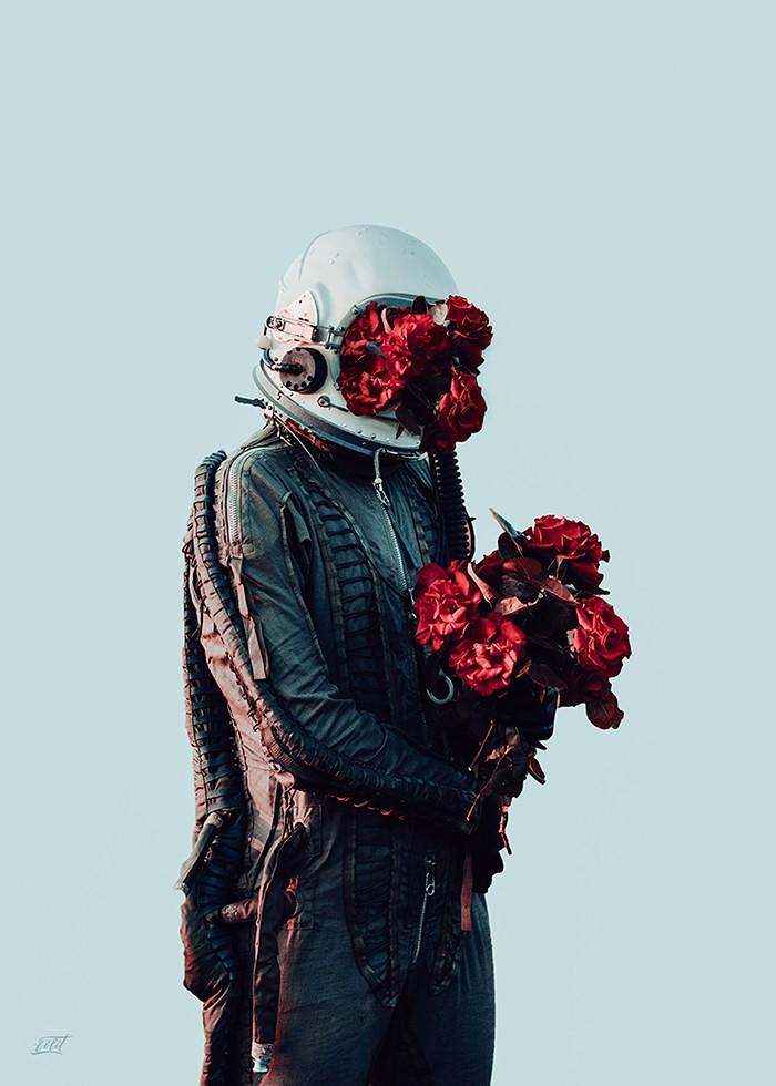 تابلو عکس، بیگانه ای با یک بغل گل
