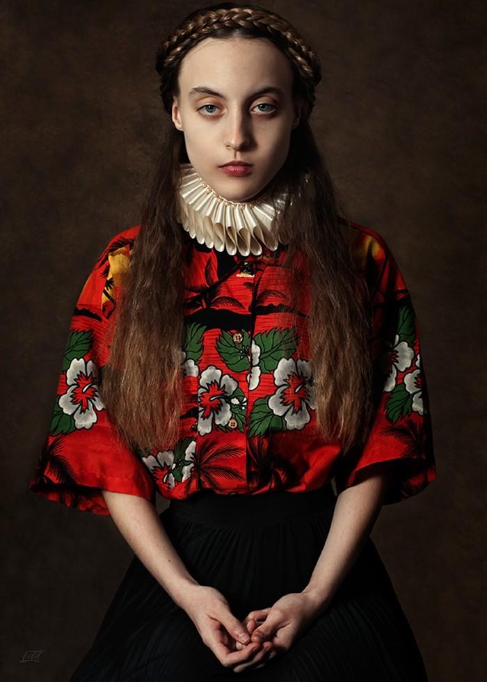 تابلو عکس، پرتره یک دختر رنسانسی با لباس ژاپنی