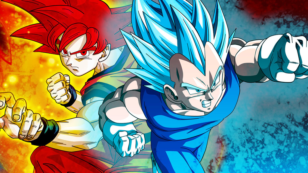 Goku and Vegeta Super Saiyan God Background