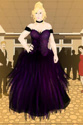 Purple Lace-top Ballgown by Lady--Amaranth