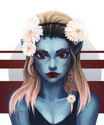 Girl with a blue skin by ShadowOfSunshine