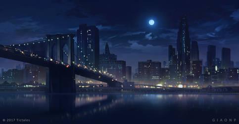 New York skyline_Night - Visual Novel Background