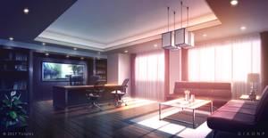 Luxury Office_sunset - Visual Novel BG by giaonp