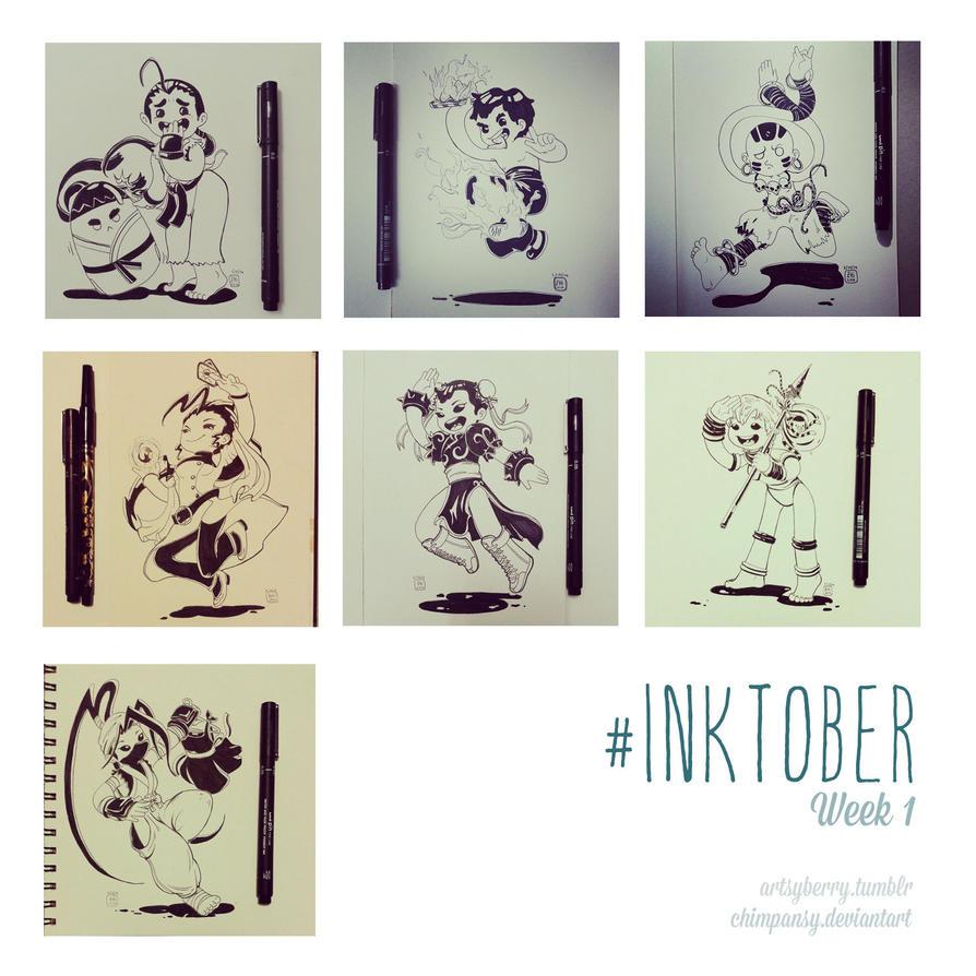 Inktober week 1 by chimpansy