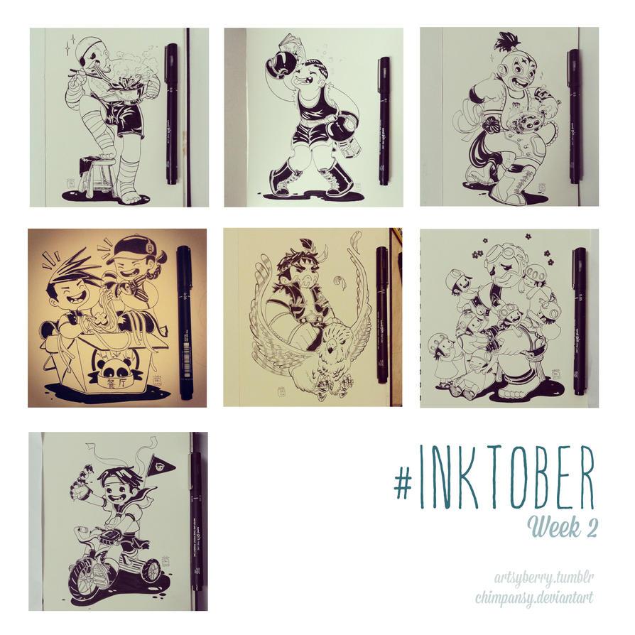 Inktober Week 2 by chimpansy