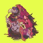 Weird evil chicken who goes 'hmm'
