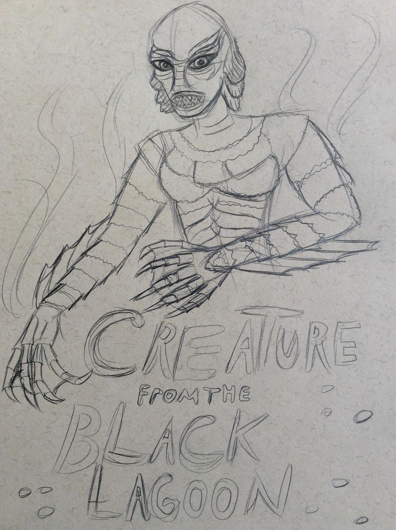 Creature from the Black Lagoon sketch by Invaderskull1995