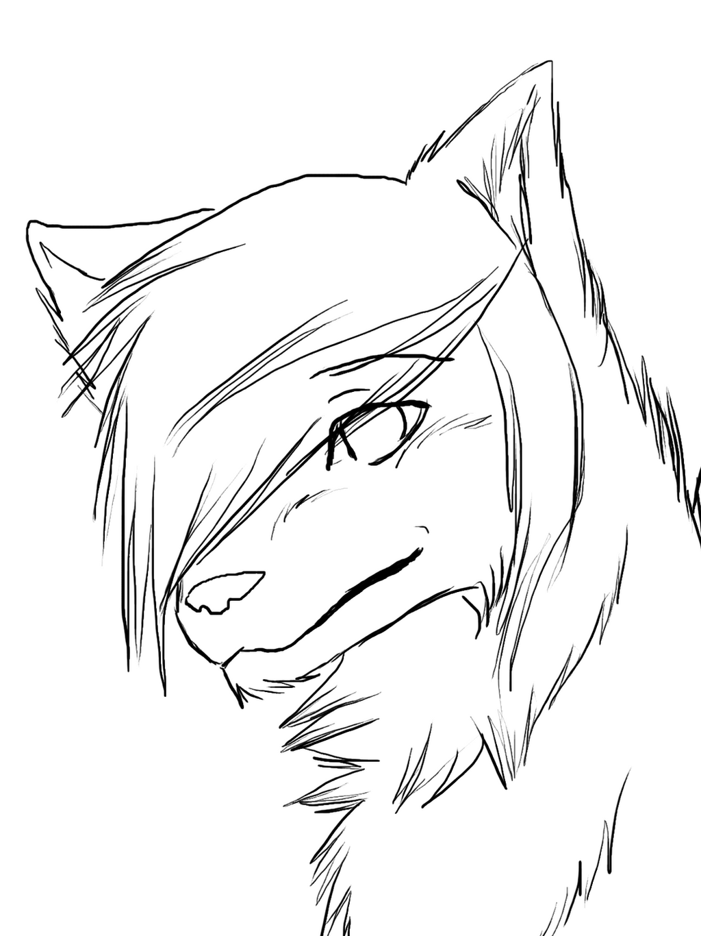 Line Drawing Wolf Face : Free wolf lineart by wolfiehailie on deviantart