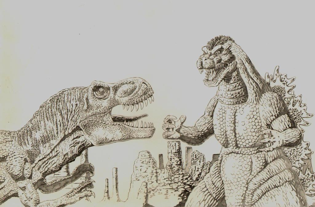 Godzilla vs Giant Tyrannosaurus by AmirKameron