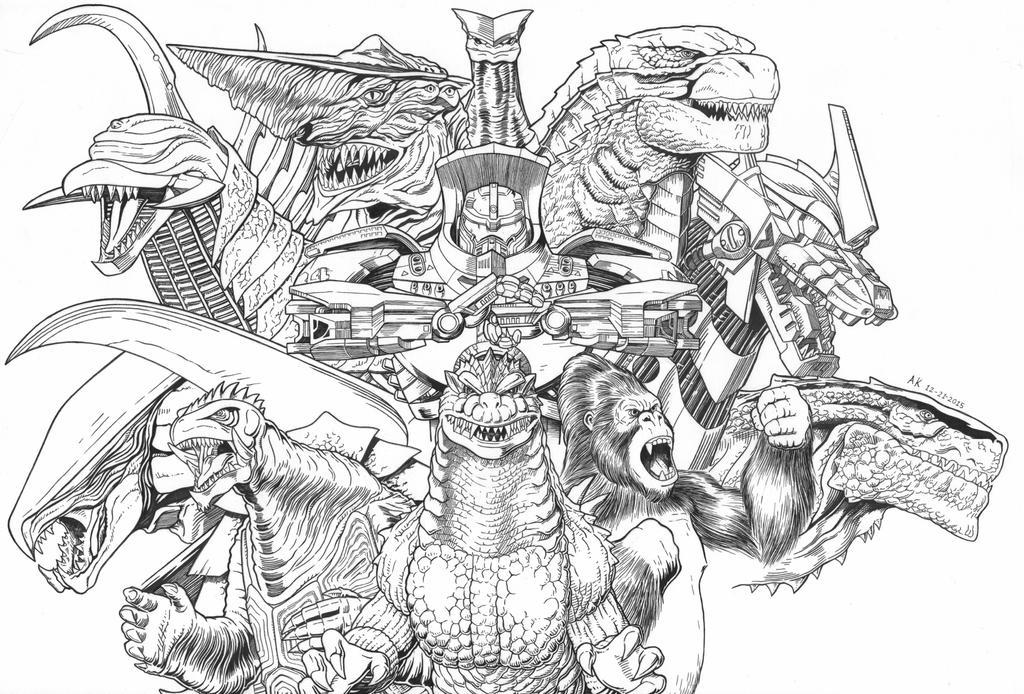 godzilla king kong and gamera monsters aoa by