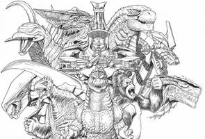 Godzilla, King Kong, and Gamera Giant monsters aoa