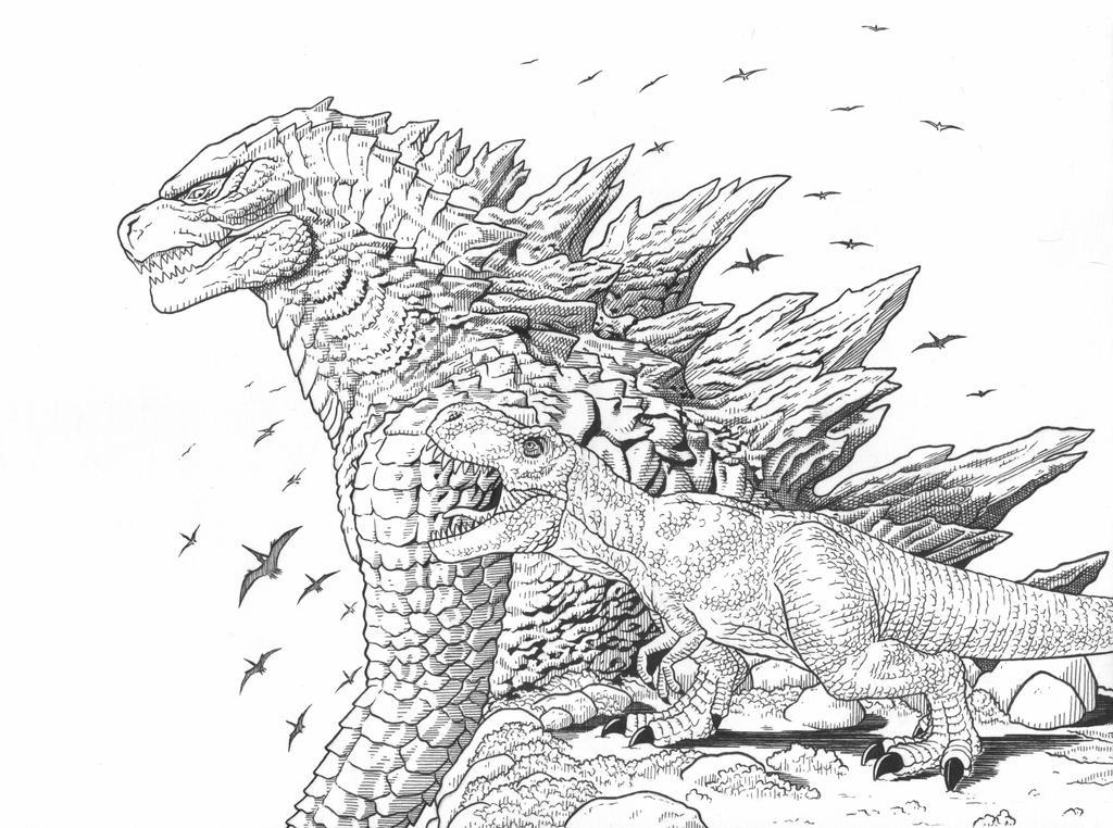 Tyrannosaurus Rex and Godzilla by AmirKameron