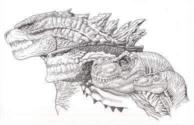 Godzilla/Zilla/T-Rex/Velociraptor by AmirKameron