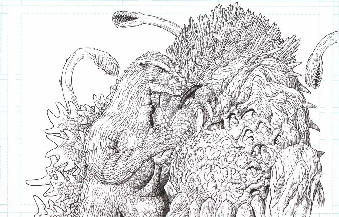 Godzilla and Biollante Valentines day by AmirKameron