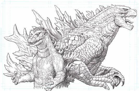 Godzilla 1954 and Godzilla 2019