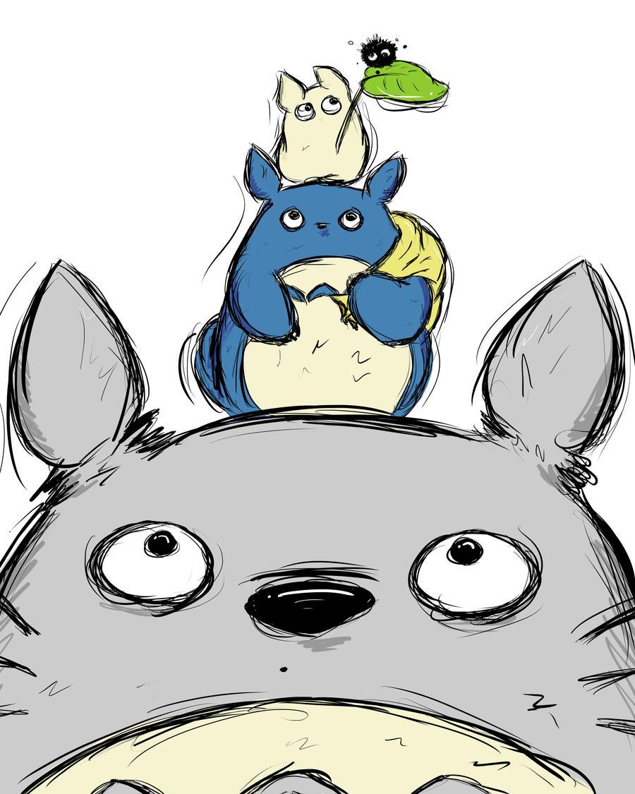 Totoro Totem Pole by SpotofInk