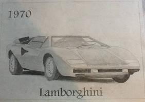 1970 Lamborghini Grid Drawing by BenGrunder
