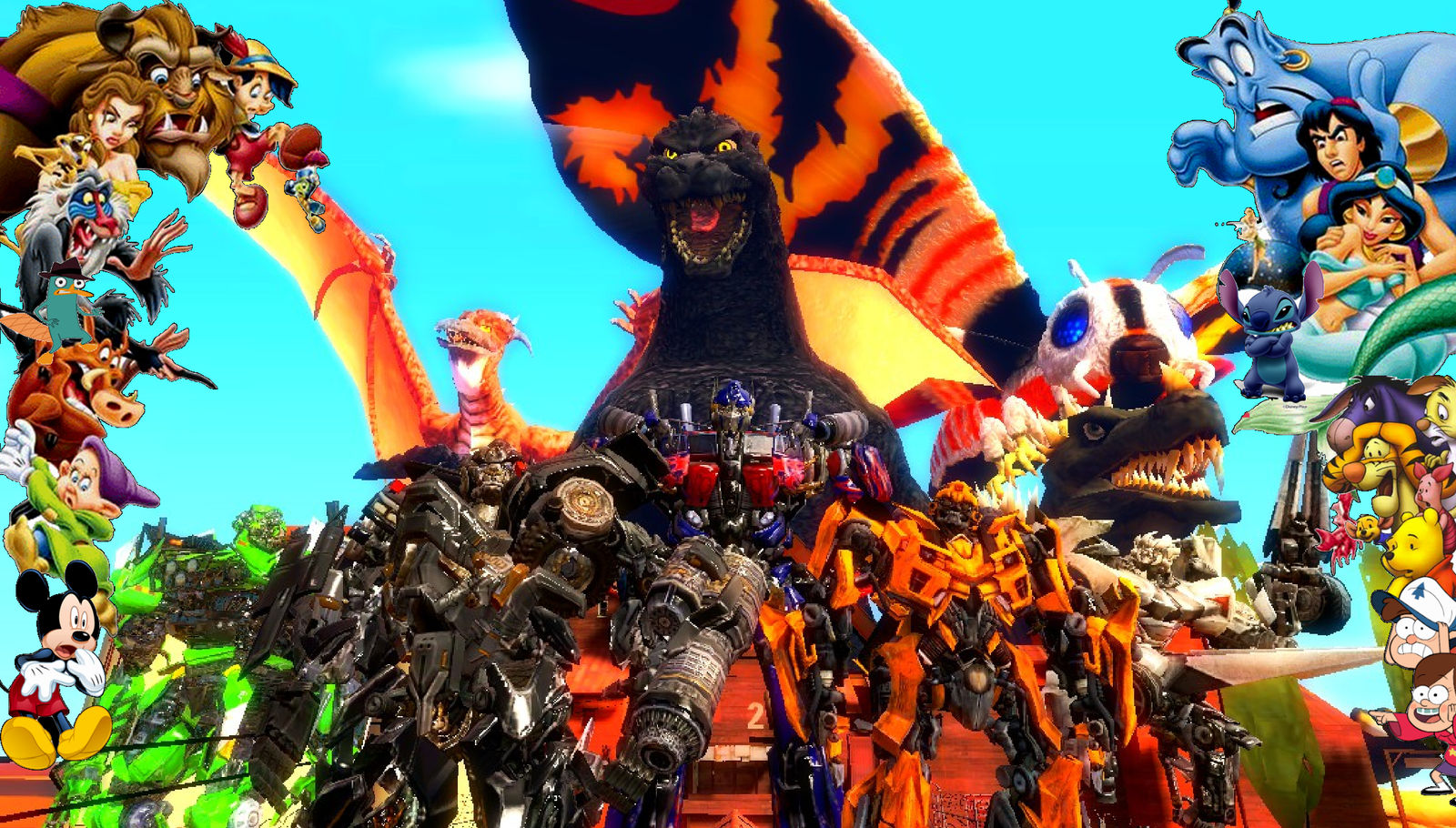 Disney characters Meet Godzilla and Transformers by