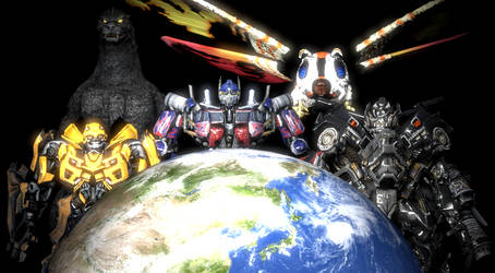 Godzilla and Transformers Protectors of Earth by NestieBot
