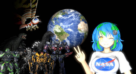 Earth Chan and the Heroes by NestieBot