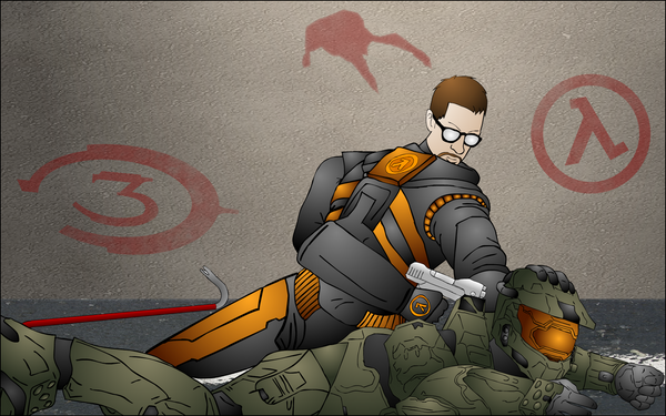 Half Life Pwns Halo Wallpaper by The-Desert-Tiger