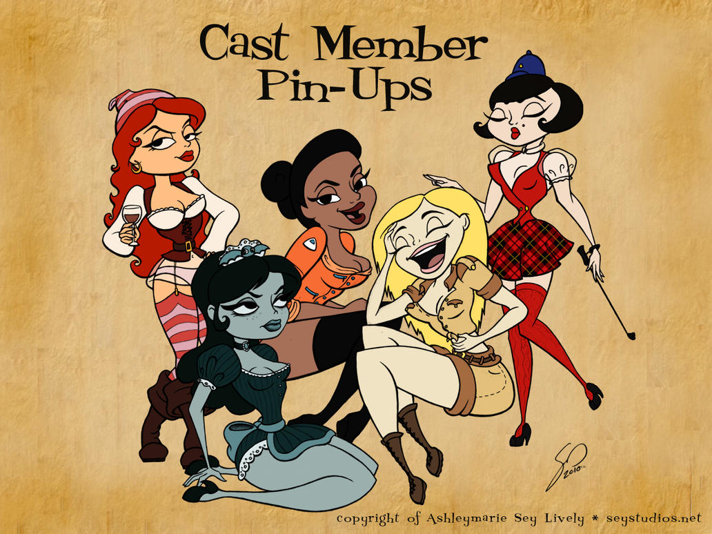 Cast Member Pin-Ups Wallpaper by seystudios