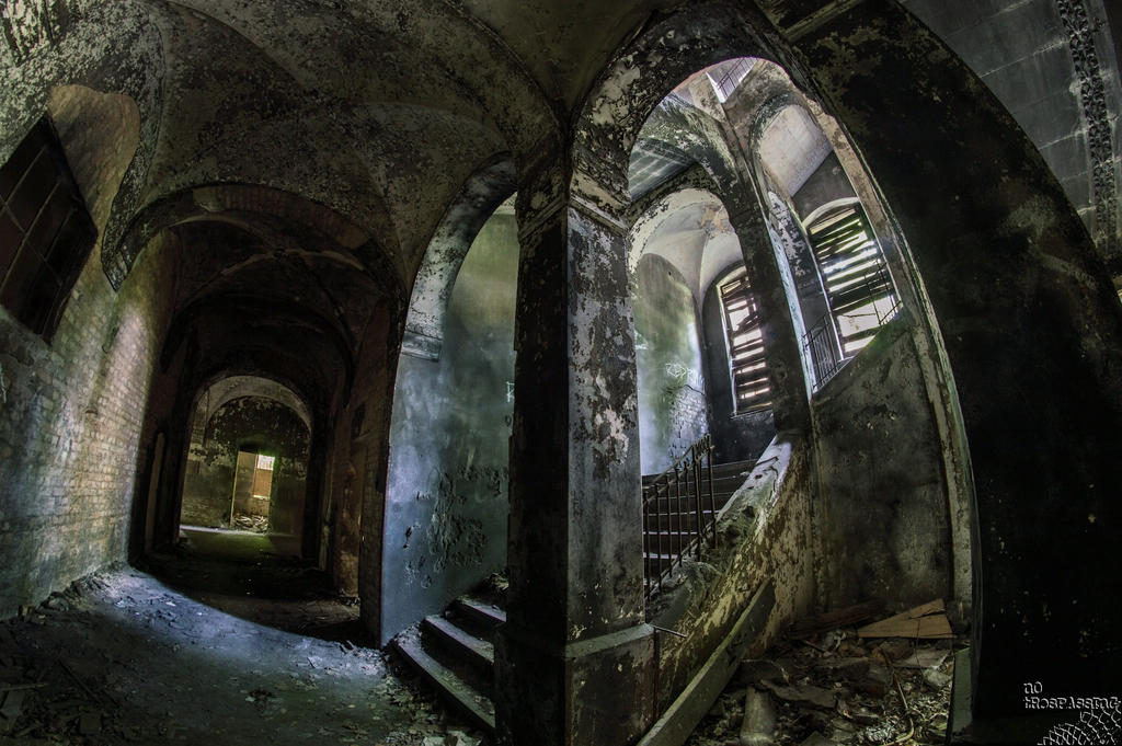 black staircase by no-trespassing