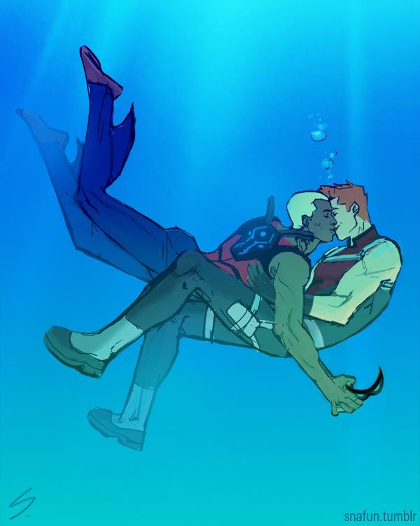 Roy x Kaldur: Kiss Underwater by snafun